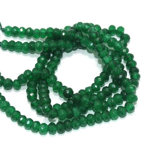 Faceted Onyx Stone Roundell Beads 6x4 mm, Pack Of 2 Strings Green