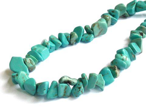 "Turquoise Beads Multi-Size (Range 7-14mm) 34"" long Chips Turquoise Blue (Sold as 1 string, 234 beads/string)"