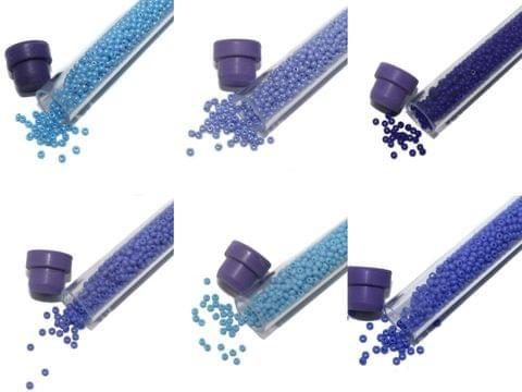 Preciosa seed Beads Opaque Blue 6 Tube DIY Combo, Size 11/0, 1250 Beads/Tube