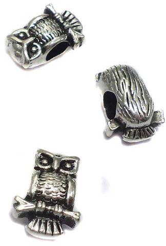 20 German Silver Owl Beads 11x6mm