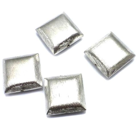 10 German Silver Square Brushed Beads 20mm