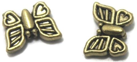 20 German Silver Butterfly Beads Golden 5x10mm