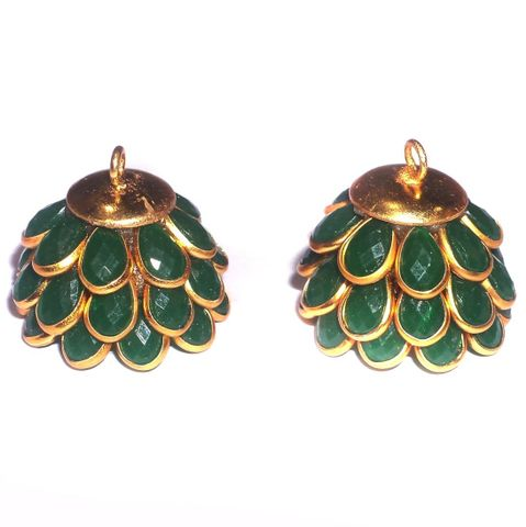 Pacchi Jhumka Opaque Green 14x19 mm