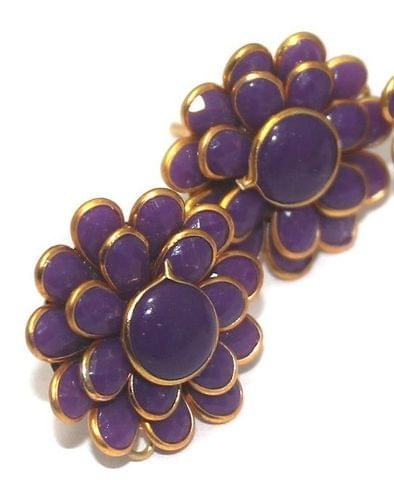 5 Pairs Double Layer PACCHI EARRING PURPLE 20X20 mm