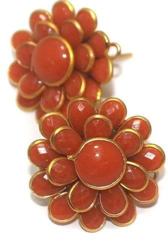 5 Pairs Double Layer PACCHI EARRINg Orange 20X20 mm