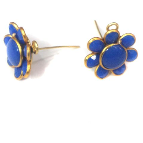 Single Layer Pacchi Earring Tops Blue, Size: 14X14mm