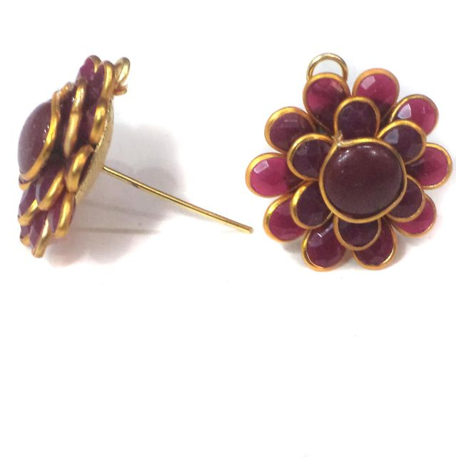 Double Layer PACCHI EARRING MAROON 20X20 mm