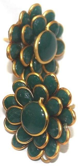 Double Layer Pacchi Earring Green, Size: 20X20mm