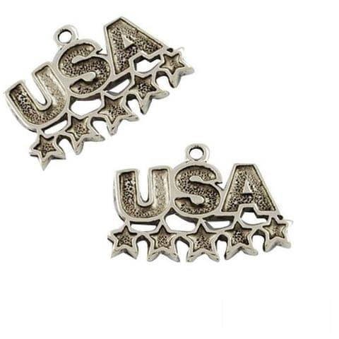 10 Antique Silver USA Charm Enamel Charm USA Pendant