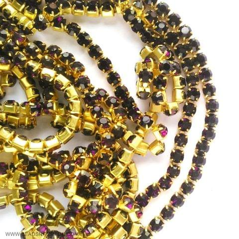 5 meter Dark Purple Stone Chain For Silk Thread Jewellery Diya Rangoli Ganesh Decore 3 mm Rhinestones Closely Spaced