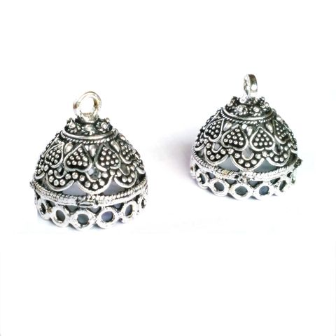 3 pairs German Silver Jhumka Earring Component. Hearts.
