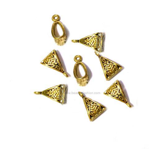 25 Antique Golden Bails. Hanger Beads. Antique Golden Pendant Hooks Wholesale pack