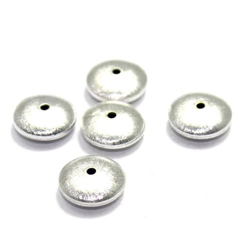20 German Silver Brushed Beads RONDELLE 14mm