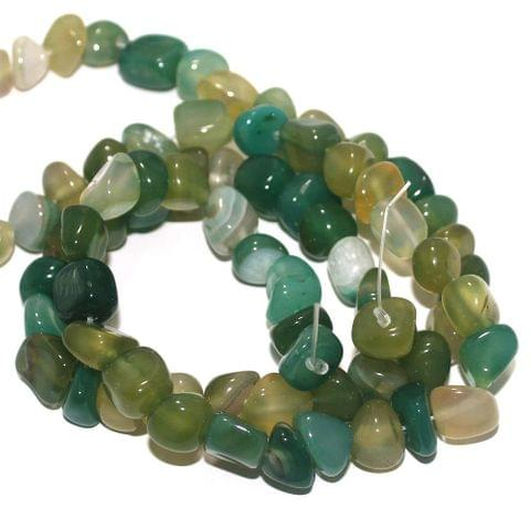 Tumble Onyx Stone Beads Multi Green 9-11 mm, Pack Of 2 Strings