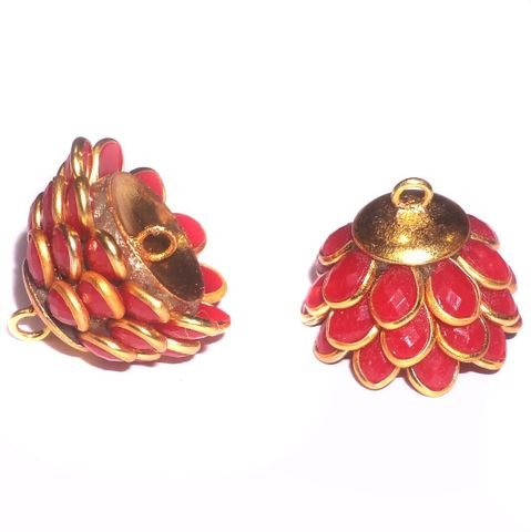 5 Pairs Pacchi Jhumka Base Red, Size 14x19 mm