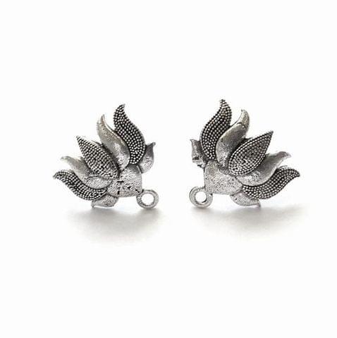 Oxidized Silver Lotus Stud Earring Findings