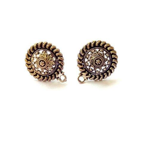5 Pairs Dual tone oxidized Earring Stud Earring Findings