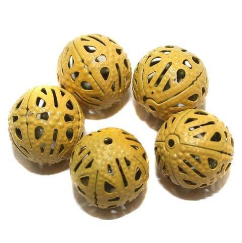 20 Metal Filigree Beads Round Yellow 14mm