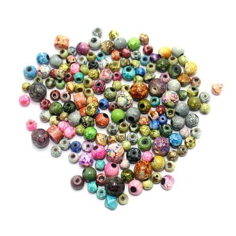250+ Marble Round Beads Assorted 6-10mm