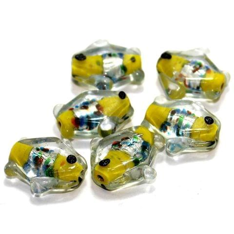20 Silver Foil Fish Beads Yellow 20mm