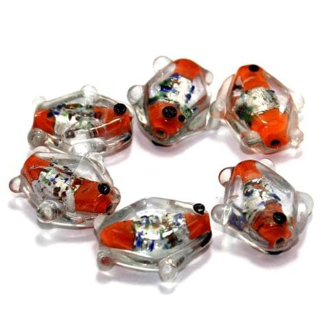 20 Silver Foil Fish Beads Red 20mm