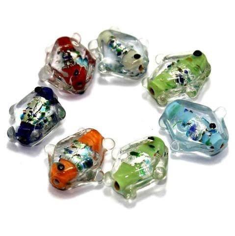 20 Silver Foil Fish Beads Assorted 20mm