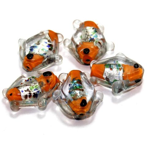 20 Silver Foil Fish Beads Orange 20mm