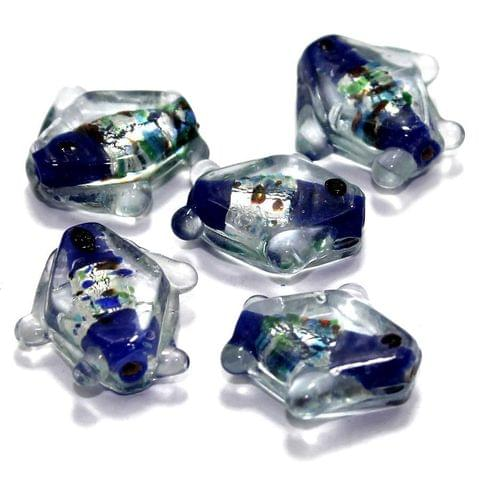 20 Silver Foil Fish Beads Blue 20mm