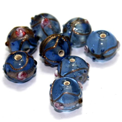 20 Wedding Cake Round Beads LIght Blue 12mm