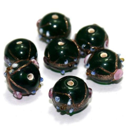 20 Wedding Cake Round Beads Green 12x15mm