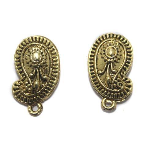 2 Pair German Silver Earring Component Golden 20x13mm