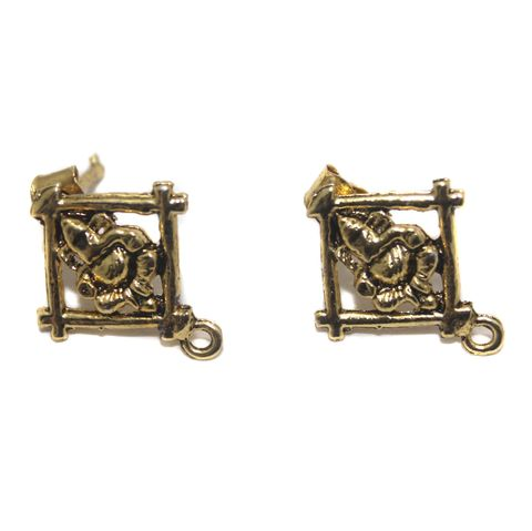 2 Pair German Silver Lord Ganesh Earring Component Golden 20mm