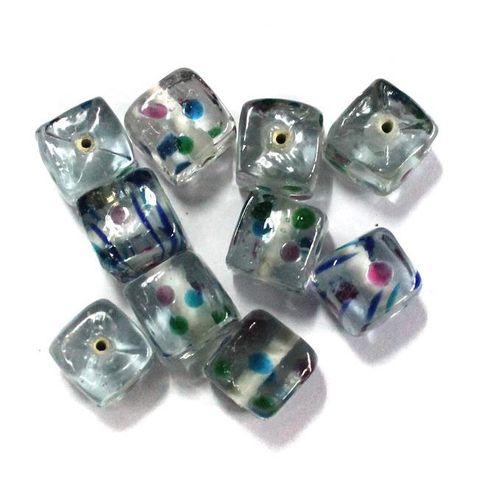 30+ Millefiori Glass Cube Beads White 12mm