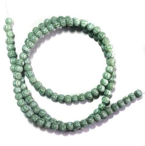 110+ Chevron Beads Round Green 4mm
