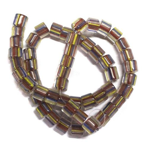 50+ Glass Cane Beads Tyre Assorted 9x7mm