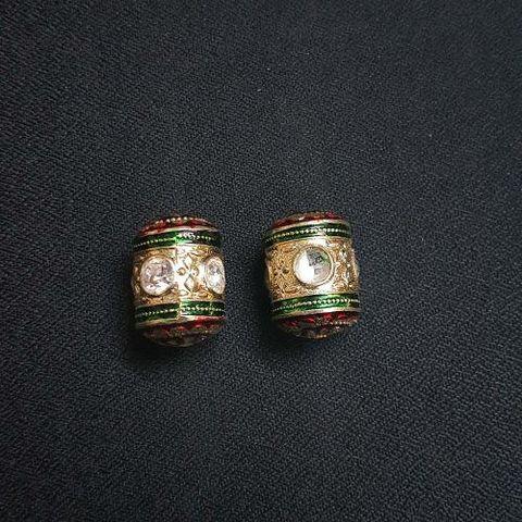 2 pcs, Traditional Jadau Dholak Shape Jewellery Making Beads, 15x22 mm