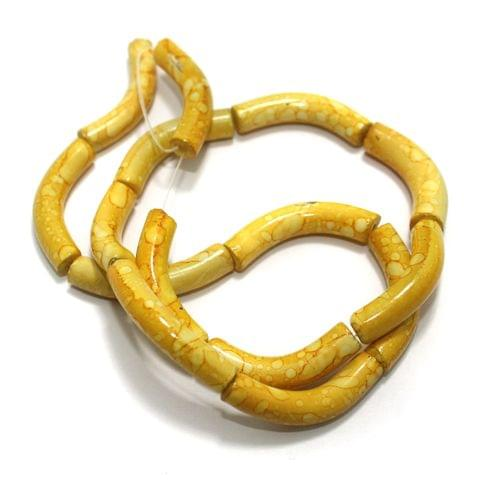75 Pcs Glass Marble Twisty Tube Beads Yellow 29x6mm