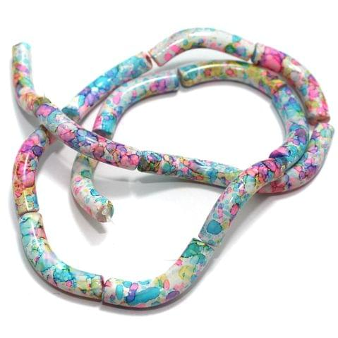 75 Pcs Glass Marble Twisty Tube Beads Multi 29x6mm