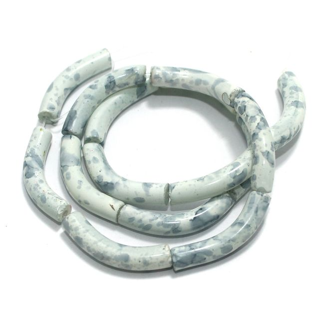 75 Pcs Glass Marble Twisty Tube Beads White 29x6mm
