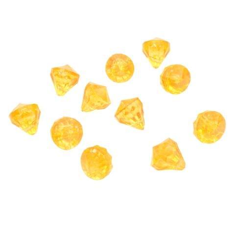 Yellow Diamond Shaped Acrylic Charms/ Beads_25Pcs