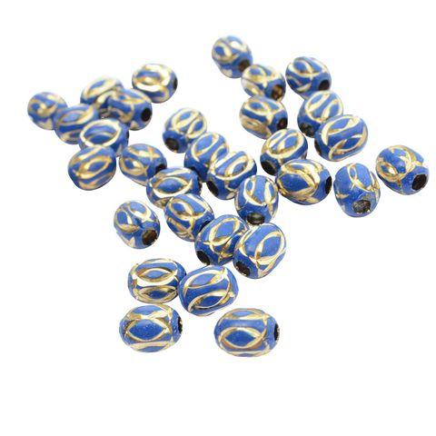 Blue Metallic Gold Engraved Bead_35Pcs