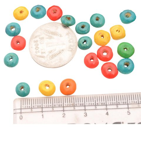 Multi-Coloured Flat Circular Wooden Beads - 150 Pieces