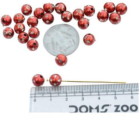Red Polka Dot Beads - 100 Pcs