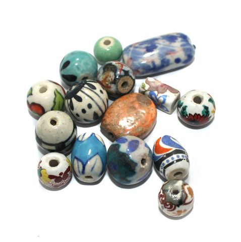 25 Pcs Ceramic Beads Assorted 20x12mm