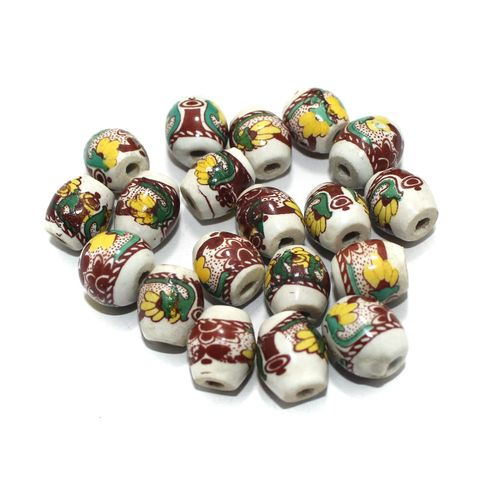 50 Pcs Ceramic Beads Assorted 16x13 mm