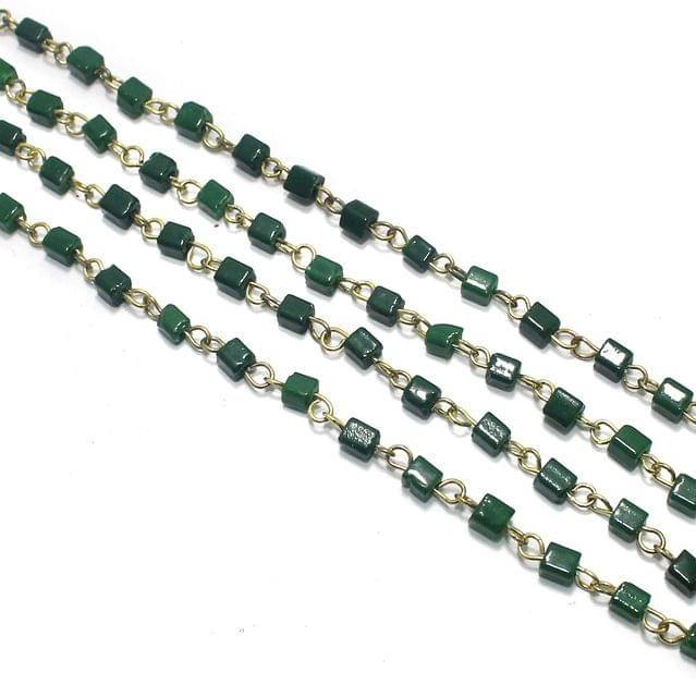 1 Mtr Designer Glass Beaded Chain Green 4x4mm