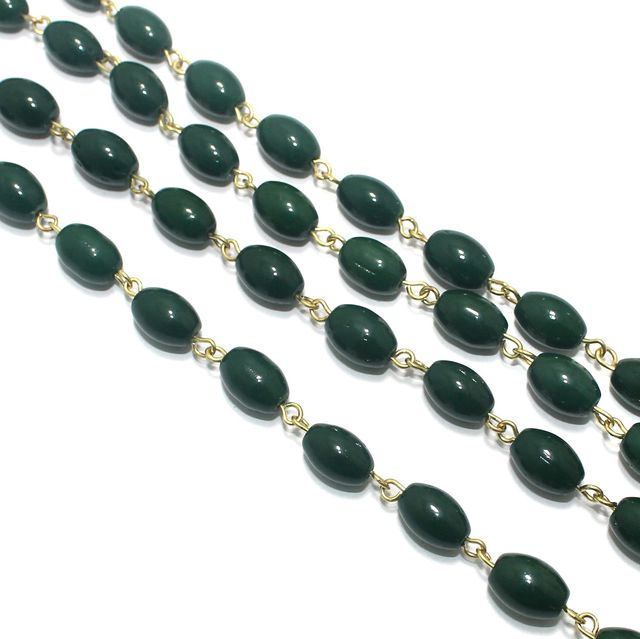 1 Mtr Designer Glass Beaded Chain Green 12x8mm