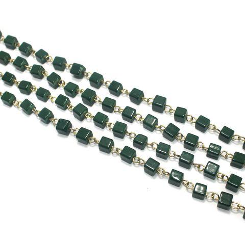 1 Mtr Designer Glass Beaded Chain Green 6x6mm