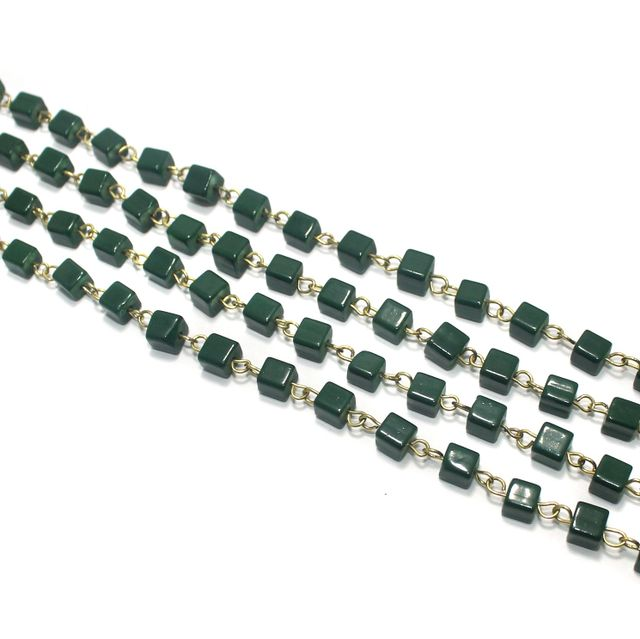 1 Mtr Designer Glass Beaded Chain Green 6x6mm