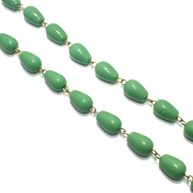 1 Mtr Designer Glass Beaded Chain Parrot Green 12x8mm